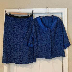 Vintage 1950's Womens 2 Piece Suit Skirt & Top Med